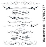 set of calligraphic floral... | Shutterstock .eps vector #417587677