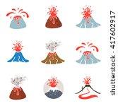 volcano eruption logo  vector... | Shutterstock .eps vector #417602917