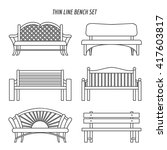 Thin Line Park Wooden Bench Se...