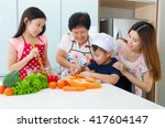 asian three generations family... | Shutterstock . vector #417604147