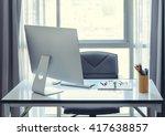 office desk with desktop... | Shutterstock . vector #417638857