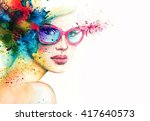 beautiful woman with sunglasses.... | Shutterstock . vector #417640573