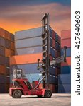 forklift truck and cargo... | Shutterstock . vector #417640603