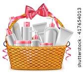 vector gift basket with... | Shutterstock .eps vector #417654013