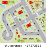 top view of the city of streets ... | Shutterstock .eps vector #417673513