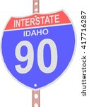 interstate highway 90 road sign ... | Shutterstock .eps vector #417716287