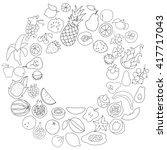 vector set of hand drawn fruit... | Shutterstock .eps vector #417717043