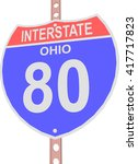 interstate highway 80 road sign ... | Shutterstock .eps vector #417717823