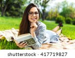 beautiful  relaxed young woman...   Shutterstock . vector #417719827