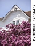 white home gable and pink crab... | Shutterstock . vector #417721543