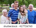 portrait of a multi generation... | Shutterstock . vector #417726763