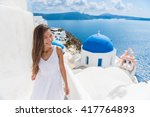 santorini travel tourist woman... | Shutterstock . vector #417764893