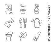 gardening icons. simple thin... | Shutterstock .eps vector #417766297