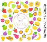 vector set of hand drawn fruit... | Shutterstock .eps vector #417788263