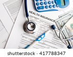 health care costs. stethoscope...   Shutterstock . vector #417788347
