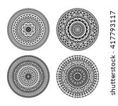 set of 4 mandala ornament in... | Shutterstock .eps vector #417793117