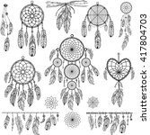 Set Of Dreamcatchers. Design...