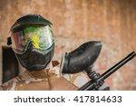 paintball gamer with gun in...   Shutterstock . vector #417814633