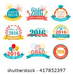bright graduation 2016 badges ... | Shutterstock .eps vector #417852397