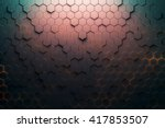red hexagon pattern. 3d...