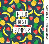 hello best summer phrase on... | Shutterstock .eps vector #417853897