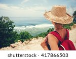 traveling woman with straw hat... | Shutterstock . vector #417866503