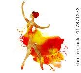 ballerina dancing. watercolor.   Shutterstock . vector #417871273