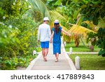 young happy couple during beach ... | Shutterstock . vector #417889843