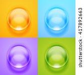 set of transparent glass sphere ... | Shutterstock .eps vector #417892663
