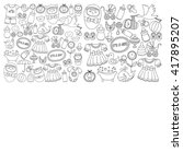 baby icons hand drawn doodle... | Shutterstock .eps vector #417895207