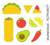 mexican food set in flat vector ... | Shutterstock .eps vector #417914077