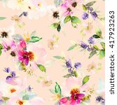 seamless pattern with flowers... | Shutterstock . vector #417923263