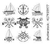 set of vintage yacht club... | Shutterstock .eps vector #417935977