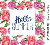 vector floral card with... | Shutterstock .eps vector #417946783