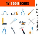 flat design tools icon set in...
