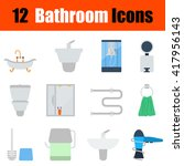 flat design bathroom icon set...