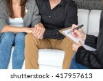 young couple with a problem to... | Shutterstock . vector #417957613