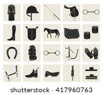 collection of horseback riding... | Shutterstock .eps vector #417960763