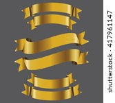 gold banner ribbon vector set... | Shutterstock .eps vector #417961147