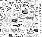 hand drawn seamless pattern of... | Shutterstock .eps vector #417975367