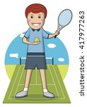 sport player cartoon character... | Shutterstock .eps vector #417977263