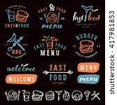 fast food labels template in... | Shutterstock .eps vector #417981853