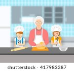 grandmother and kids bake... | Shutterstock .eps vector #417983287