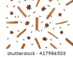 set of cinnamon  clove and star ...   Shutterstock . vector #417986503