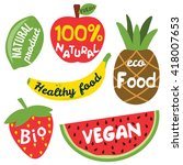 fruits labels with vegetarian... | Shutterstock .eps vector #418007653