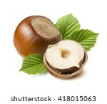 hazelnut nut half leaves... | Shutterstock . vector #418015063