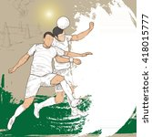 illustration of soccer players. ... | Shutterstock .eps vector #418015777