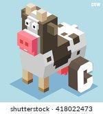 c for cow. animal alphabet... | Shutterstock .eps vector #418022473