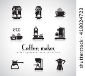 coffee machine vector flat icon ... | Shutterstock .eps vector #418024723
