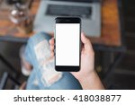 girl using smartphone in cafe.... | Shutterstock . vector #418038877